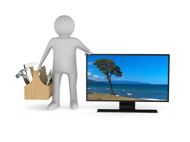 Servizio tv su spazio bianco. illustrazione 3d isolata
