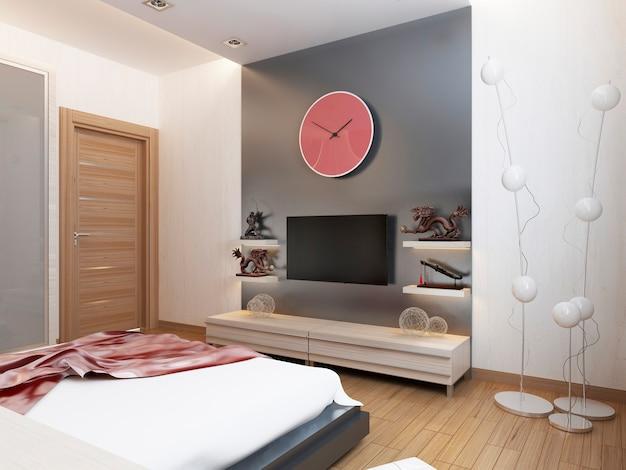 Mensole tv e un armadio sotto la tv in camera da letto. rendering 3d.