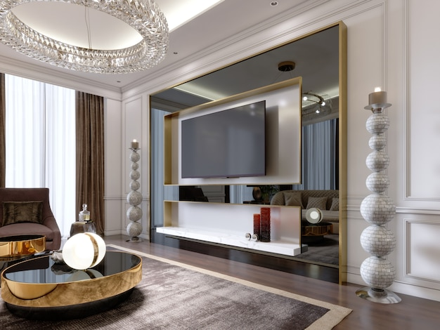 Porta tv in soggiorno suite con tv in grande cornice nera lucida con grandi candelieri vicino, appartamento moderno. rappresentazione 3d.