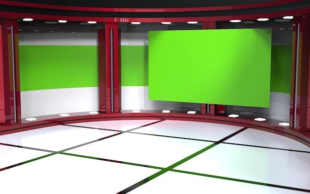 Tv on wall virtual news studio