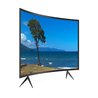 Televisore su sfondo bianco. illustrazione 3d isolata