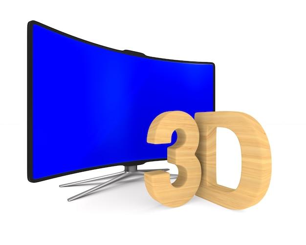 Tv su superficie bianca. illustrazione 3d isolata.