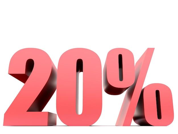 Simbolo del venti per cento .3d rendering
