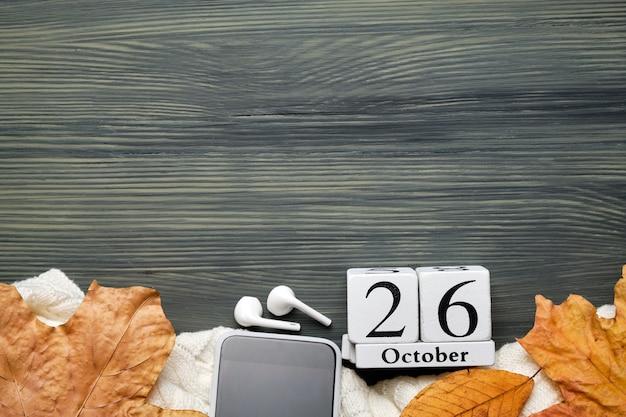Ventiseiesimo giorno del mese di autunno del calendario ottobre con lo spazio della copia