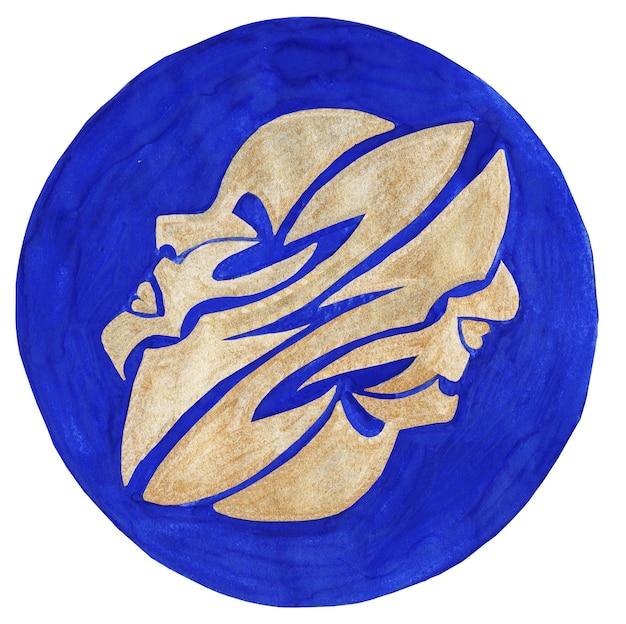 Simbolo dello zodiaco dei gemelli illustrazione dell'acquerellol'icona dello zodiaco immagine raster dell'astrologia gemelli