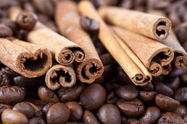 Corteccia di cannella contorta con chicchi di caffè tostati, primo piano, profondità di campo molto bassa