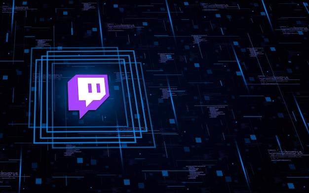Icona con il logo di twitch sul background tecnologico con elementi di codice