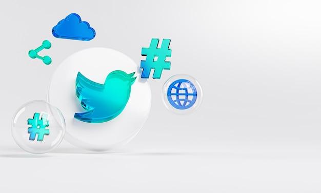 Twitter logo in vetro acrilico e icone social media copy space 3d