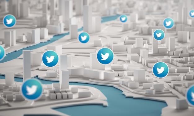 Icona di twitter sopra la vista aerea della rappresentazione delle costruzioni 3d della città