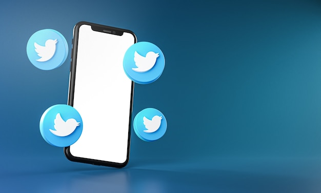Icone di twitter intorno a smartphone app 3d rendering