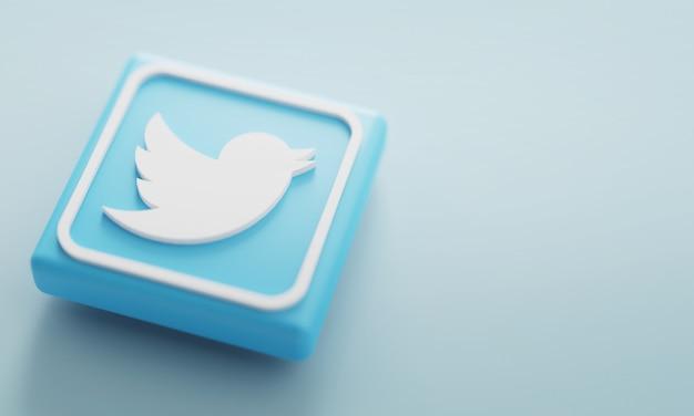Fine di rappresentazione del logo 3d di twitter in su. modello di promozione dell'account. Foto Premium
