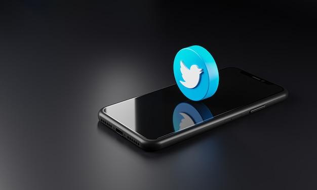 Icona con il logo di twitter su smartphone, rendering 3d