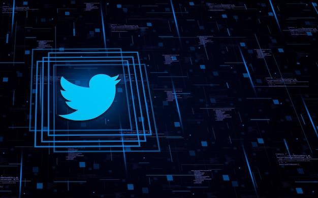 Icona con il logo di twitter su background tecnologico con elementi di codice