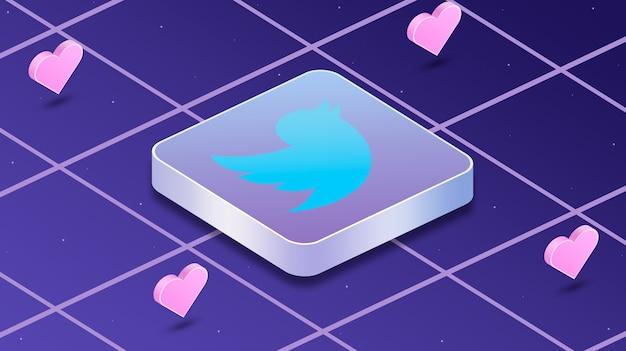 Icona logo twitter con cuori intorno a 3d