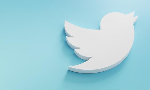 Logo twitter modello minimo di design semplice. copia space 3d