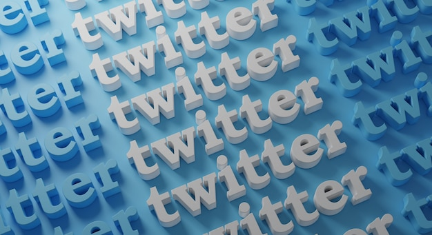 Twitter tipografia multipla su blue wall, rendering 3d