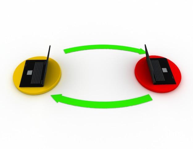 Due laptop 3d a terra sono collegati con le frecce