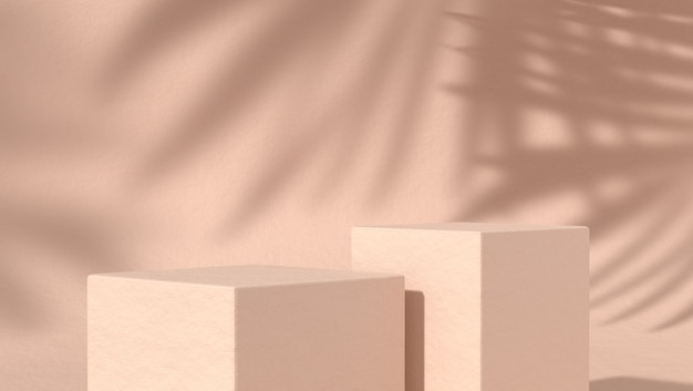 Due podio astratto per il posizionamento di prodotti cosmetici in uno sfondo naturale