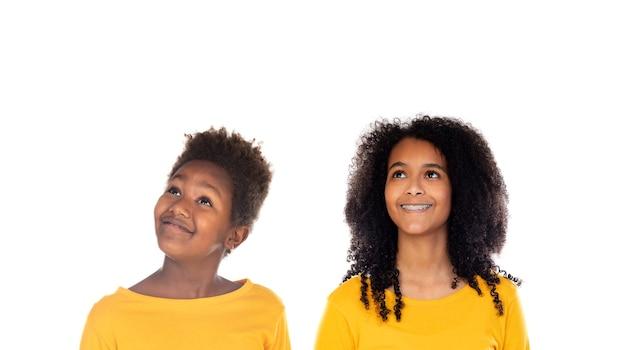 Due fratelli afro isolati su un bianco