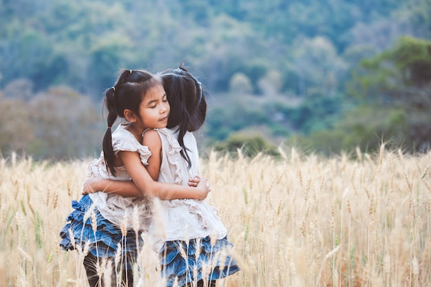 Due ragazze asiatiche che si abbracciano con amore e giocano insieme nel campo di orzo