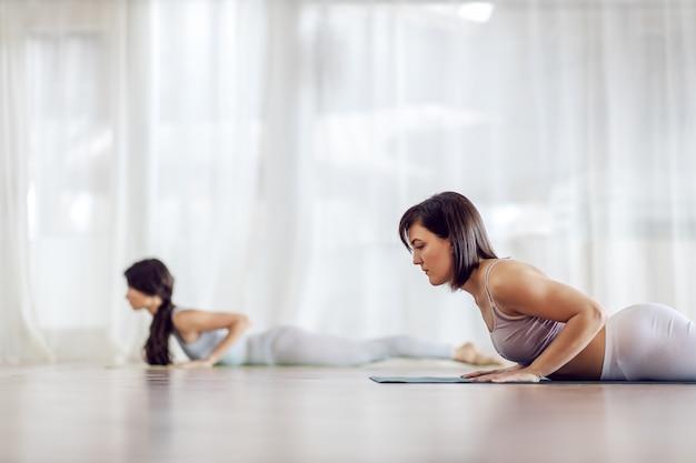 Due ragazze caucasiche concentrate in forma attraente in posizione yoga low cobra. interiore dello studio di yoga.