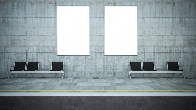 Due manifesti in bianco del tabellone per le affissioni sul modello della stazione della metropolitana