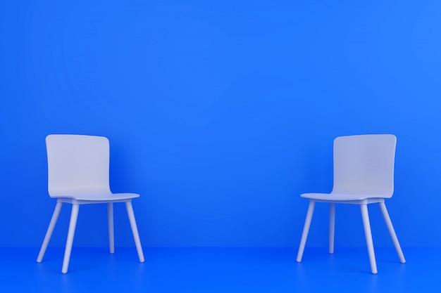 Una sedia di due blu nel salone di colore blu.
