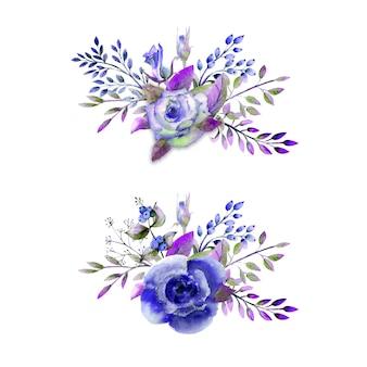 Due mazzi di rose, foglie, bacche, ramoscelli decorativi. concetto di matrimonio con fiori. composizione acquerello nei toni del blu per biglietti di auguri o inviti.