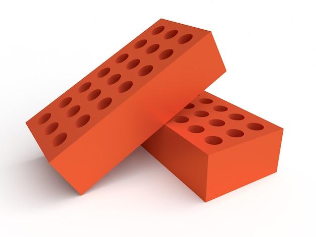 Due mattoni isolati su sfondo bianco. concetto di costruzione