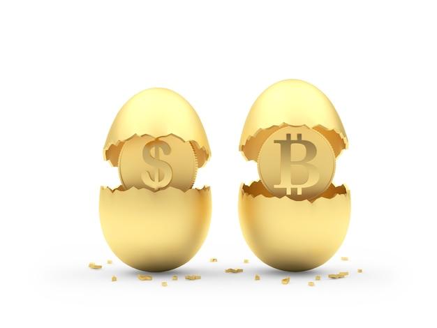Due uova d'oro rotte con monete dollaro e bitcoin