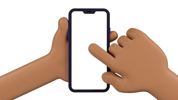 Due mani del fumetto che tengono un telefono cellulare davanti e che indicano lo schermo. schermo vuoto per inserire un'immagine della tua applicazione o del web. oggetti isolati sulla parete bianca. 3d.