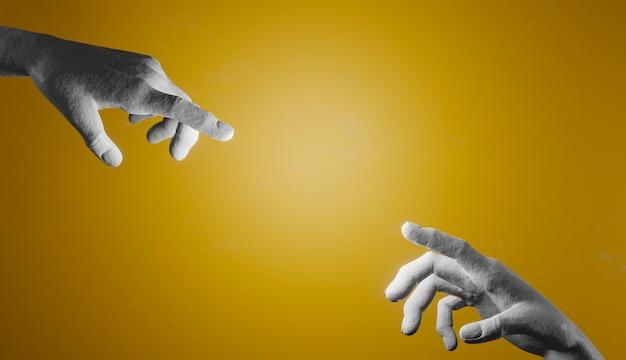 Due mani di cemento che cercano di toccarsi con le dita su uno sfondo giallo illuminato dal centro. rendering 3d