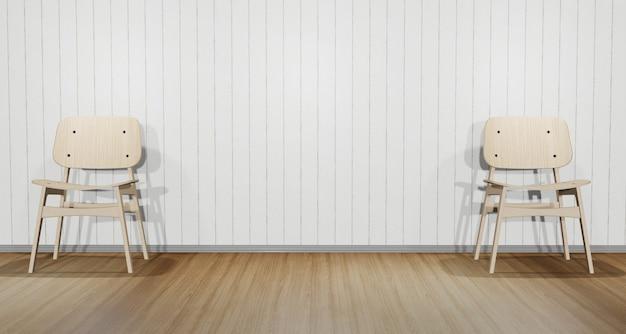 Due sedie sono posizionate a sinistra ea destra dell'immagine. in una stanza decorata con motivo a pavimento in legno