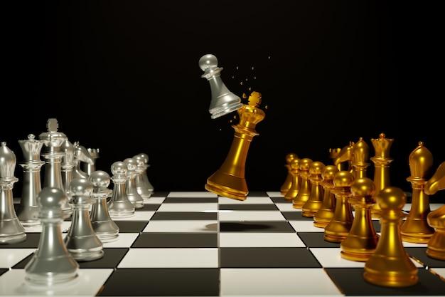 Due eserciti di scacchi sulla scacchiera di legno. posto vuoto per il testo. battaglia di scacchi, vittoria di scacchi, concetto di scacchi, illustrazione 3d