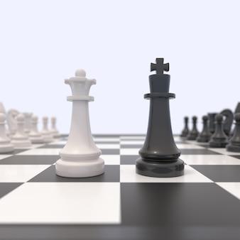 Due pezzi degli scacchi su una scacchiera
