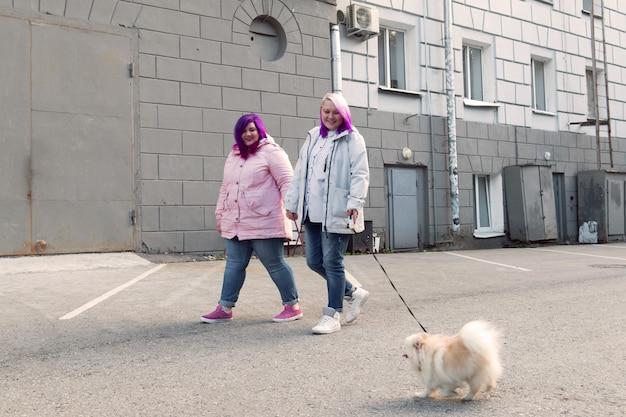 Due lesbiche dai capelli di colore che camminano con un cane spitz al guinzaglio coppia omosessuale felice all'aperto