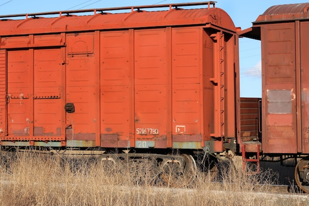 Due vecchi vagoni merci arrugginiti accoppiati stanno sulla vegetazione secca in primo piano delle rotaie