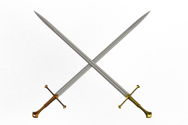 Due spade incrociate, isolato su sfondo bianco, rendering 3d