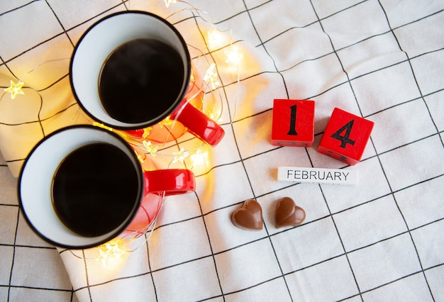 Due tazze di caffè per san valentino