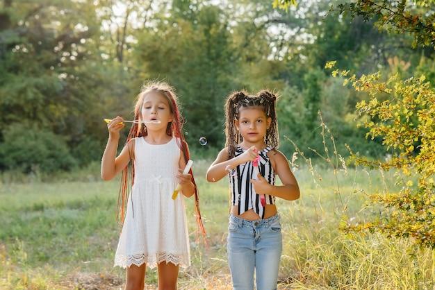 Due ragazze carine con le trecce stanno giocando nel parco facendo esplodere bolle di sapone.