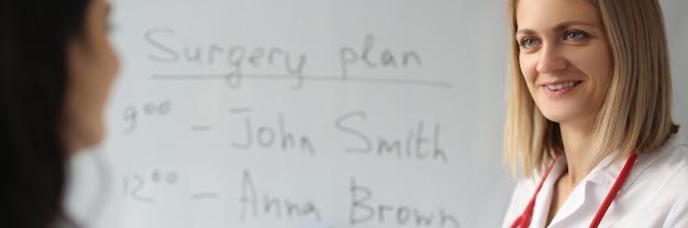 Due medici redigono il piano delle operazioni. pianificazione della giornata lavorativa nel concetto di ospedale