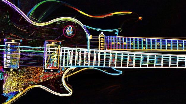 Due chitarre elettriche. pittura al neon di colore astratto.