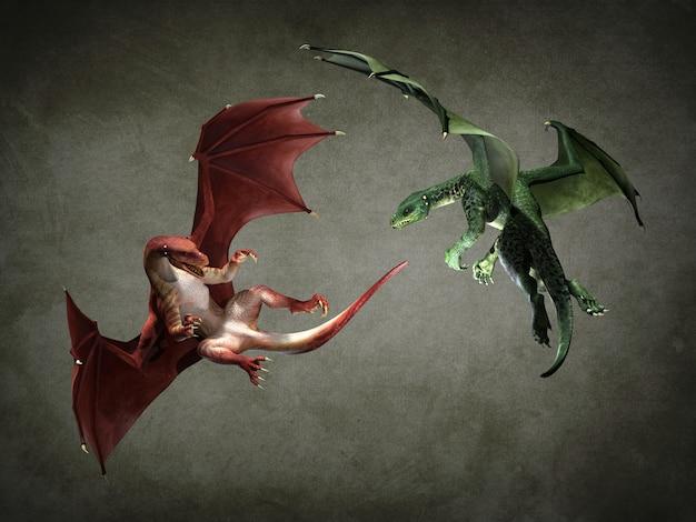 Due favolosi draghi volanti. illustrazione 3d