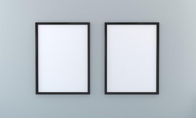 Mockup di due frame su un'opera d'arte di presentazione della parete grigia3d rendering