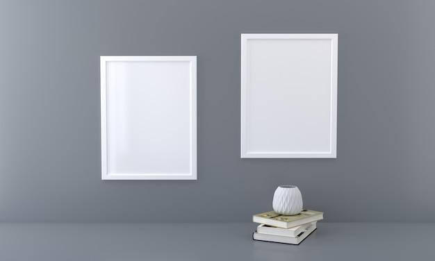 Mockup a due cornici con libri e vaso su un'opera d'arte di presentazione della parete scura3d rendering