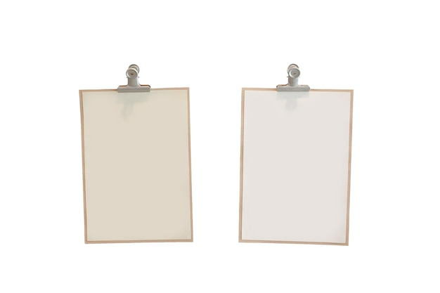 Due fogli di carta con fermagli per carta su sfondo bianco.