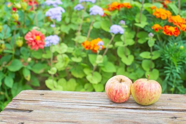 Due mele fresche giacciono su una superficie di legno sullo sfondo di fiori concetto di cibo sano