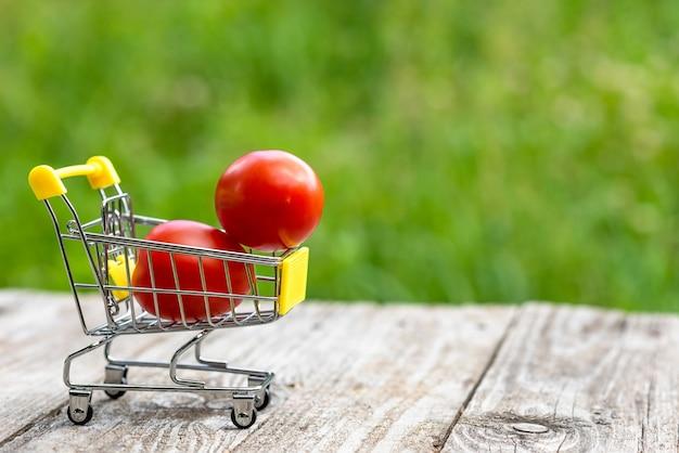 Due pomodori freschi in un carrello della spesa giocattolo.