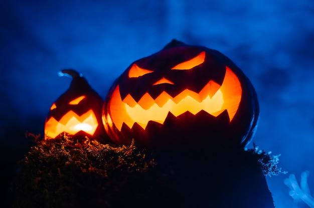 Due zucche spaventose arrabbiate arancione blu incandescente con lanterna di presa di fumo nel concetto di foresta halloween ...