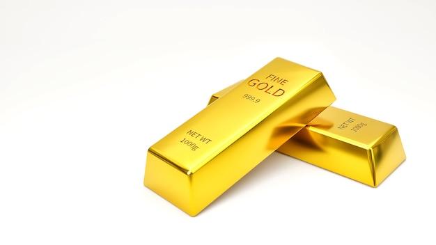 Due lingotti d'oro su uno sfondo bianco il concetto di successo finanziario ed economico del commercio di oro nel mercato azionario.